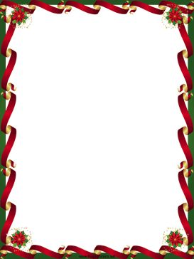 Gold and red ribbons line the sides of this free, printable, Christmas border while poinsettias decorate the corners. Free to download and print.