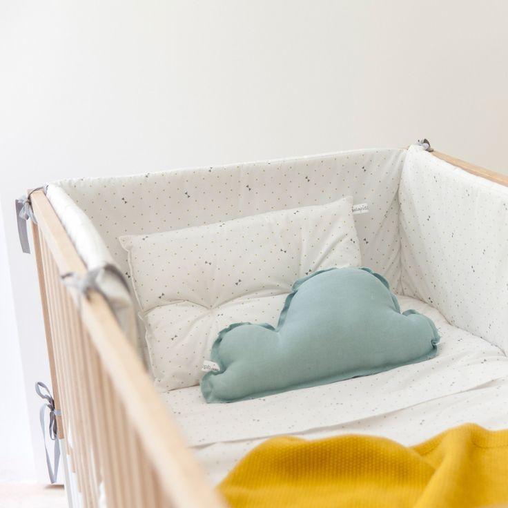Protector de cuna pajaritas lazos en gris products - Zara home minicuna ...