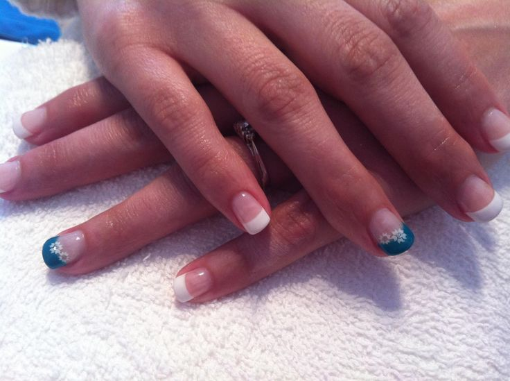 Teal french nails with flower decals #sittingpretty