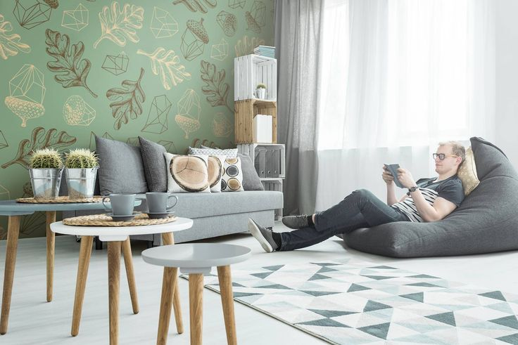 Relax in leaves • Living room - Contemporary - Abstraction - Nature - Wall Murals ✓ 365 Day Money Back Guarantee ✓ Consulting on the Pattern Selection ✓ 100% Safe✓ Set up online!
