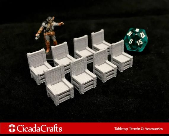 8 x 28mm Wood Chairs (Unpainted) - Tabletop Gaming