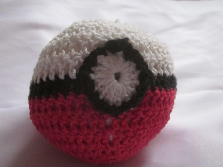 plush pokeball toy, manga toy pokemon toy, crocheted cotton yarn by knightwhosaidknit on Etsy
