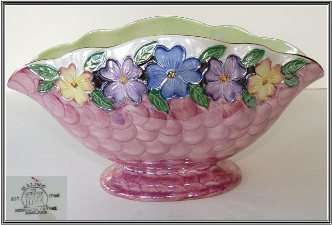 Maling Jardiniere, Embossed Pink Waved. Made in Newcastles Ford Pottery probably between 1924 & 1941, impressed mark M on base, may have been decorated by Florence Moore.