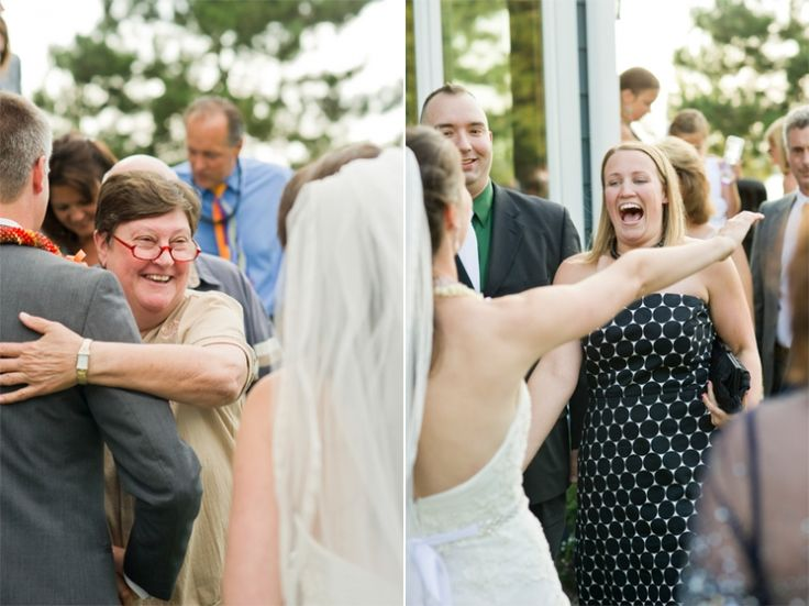 Happy guests during a wedding receiving line by wedding photographer Kate Bentley.