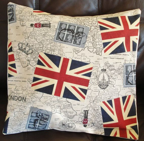 Throw Pillow London Union jack stamps Royal Mail by IconicPillows, $35.00