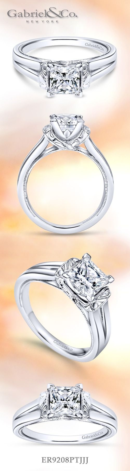 Gabriel & Co.-Voted #1 Most Preferred Fine Jewelry and Bridal Brand. Platinum Princess Cut Solitaire  Engagement Ring