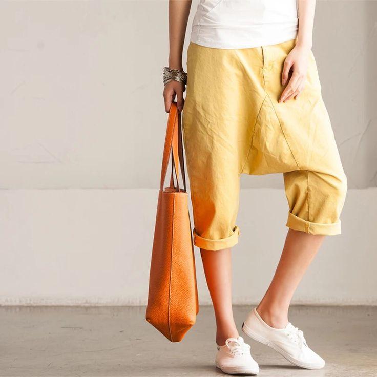 Yellow cotton linen pants