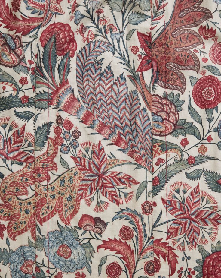 Antique indian chintz dress gardens pinterest for Chintz fabric