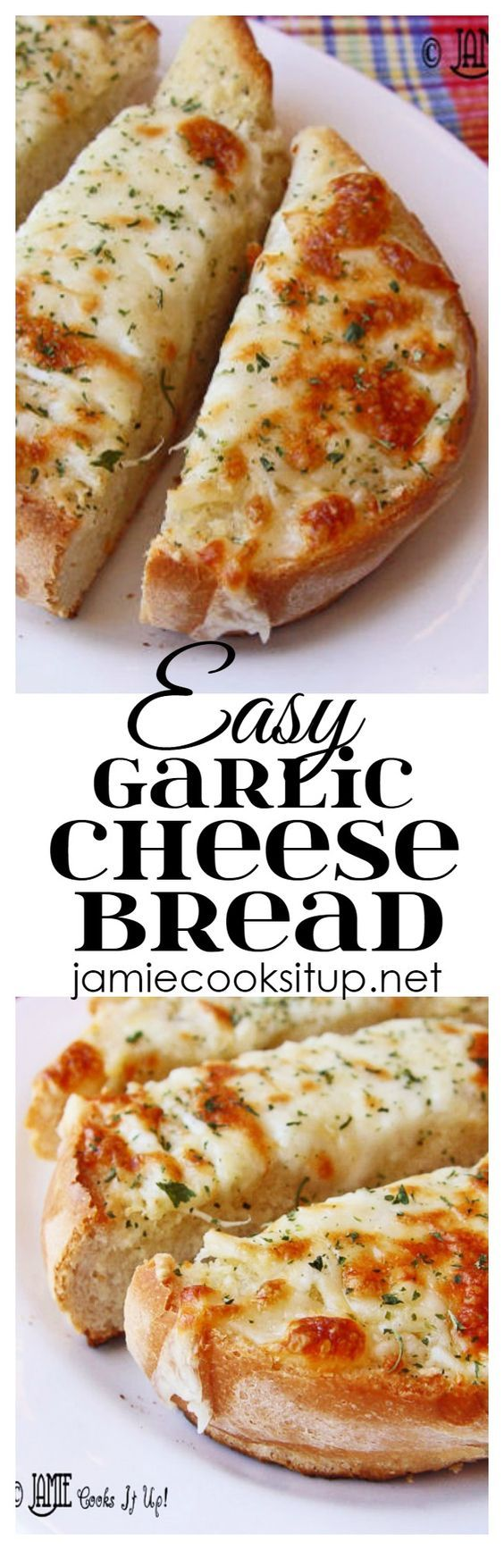 Easy Garlic Cheese Bread from Jamie Cooks It Up! You can make this wonderful cheesy bread in about 15 minutes.
