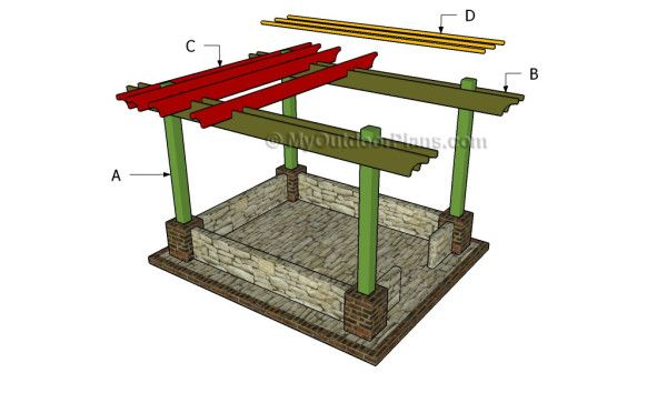 1000 images about free pergola plans on pinterest diy for Diy free standing pergola