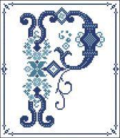 Decorative Blue Alphabet P