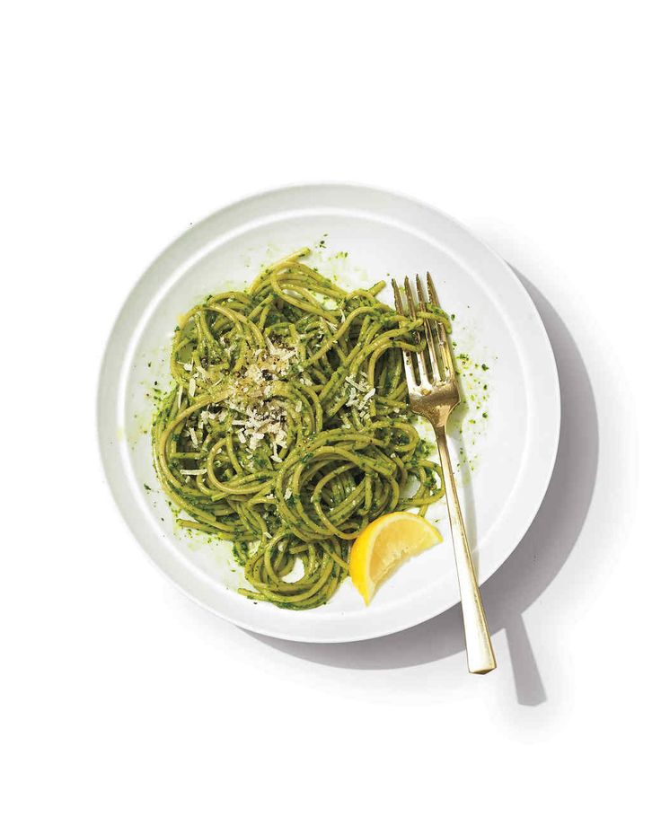 For a new spin on classic pesto, go beyond basil and consider April's abundance of leafy greens: in addition to the kale used here, arugula and baby spinach also puree up into a nutrient-rich sauce, bursting with flavor. Serve with pasta, vegetables, and meats, or as a sandwich spread.