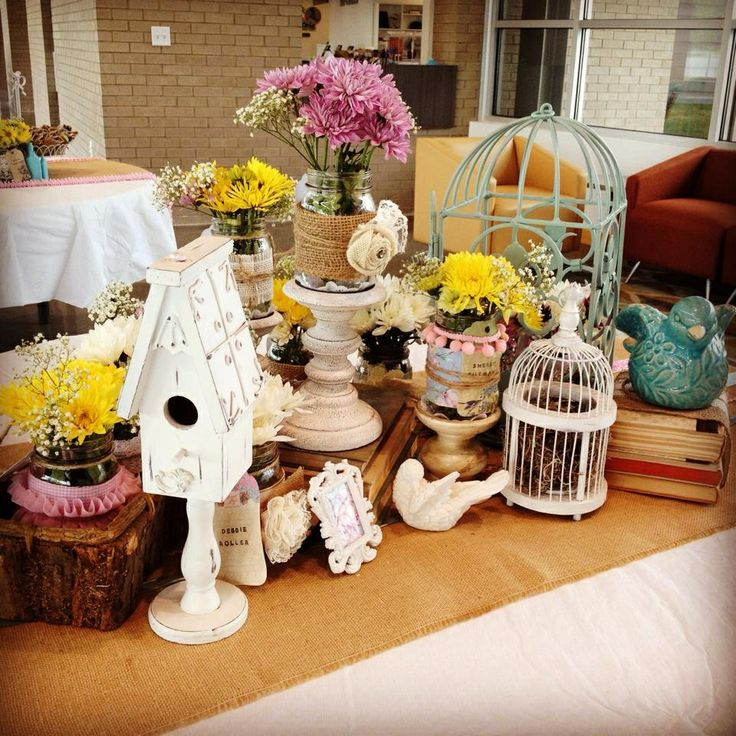 Shabby Chic Kitchen Table Centerpieces: Shabby Chic Table Decorations. Bridal Shower, Baby Shower
