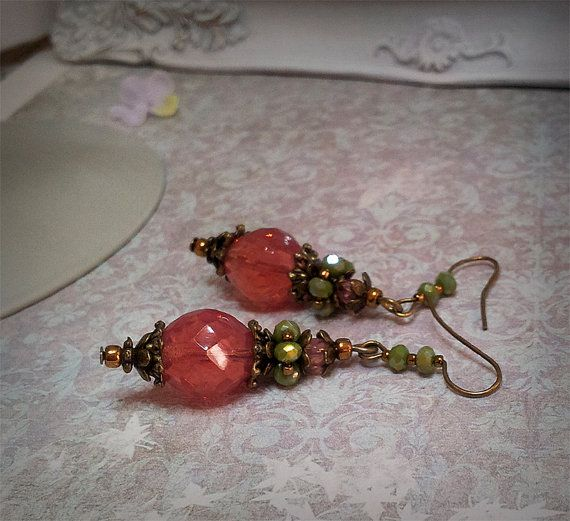 Victorian Earrings,Antique Renessance jewelry,Romantique Vintage style earrings.Chandelier Earrings.Pink opal beads earrings by ezdessin. Explore more products on http://ezdessin.etsy.com