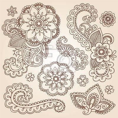 Fotomural henna paisley mandala tattoo design elements doodle vector set - indiana • br.pixersize.com