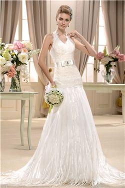 ウェディングドレス飾る素晴らしいAライン床長さホルターコートレース&スパンコール