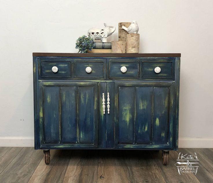 Vintage Roller Cart, Breakfast Buffet, Entry Table, Sideboard, or Storage Cabinet #anniesloan #lemlem #napoleonicblue #cart #buffett #forsale #kateandbarrel #vintage #furnituremakeover #distressed #painted