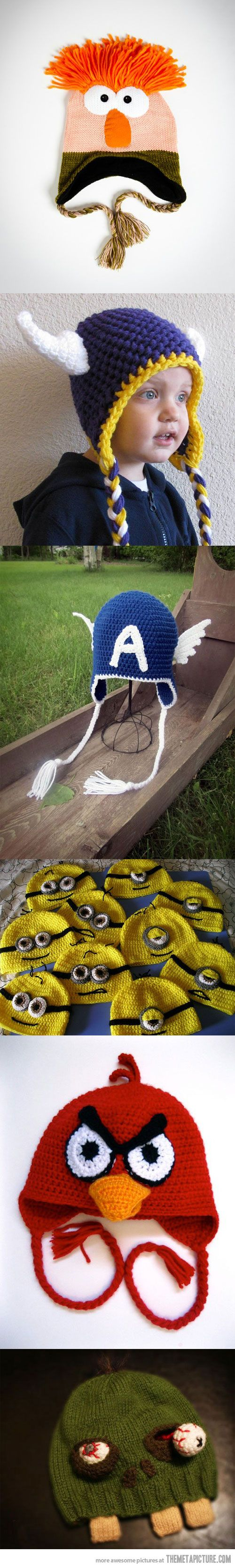 I want a minion hat for each of the kids in my house.  How awesome would it be to walk Aidan to the bus each day with 5 minions in tow, lol.  Awesome Crocheted Hats