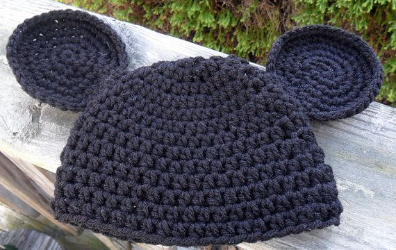 Crocheted Mickey Mouse Ears Beanie- Will Make To Order. $8.00, via Etsy.