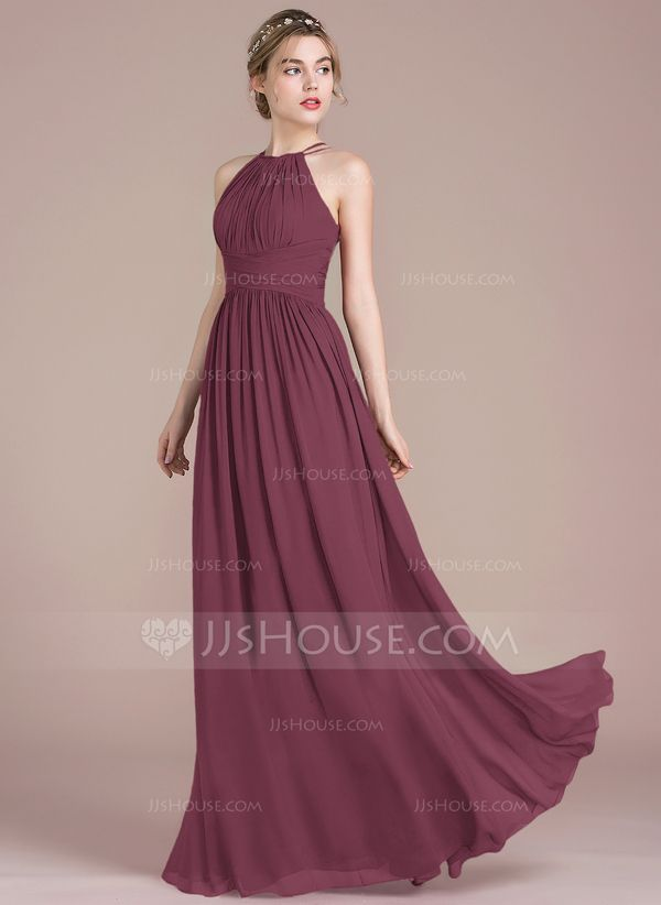 [€ 103.00]  A-Line Scoop Neck Floor-Length Chiffon Homecoming Dress With Ruffle - JJ's House
