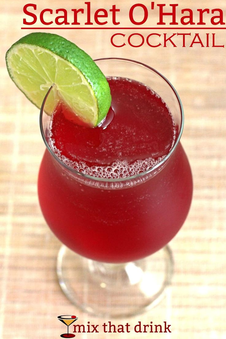 The Scarlet O'Hara drink, a classic cocktail. Sweet, tart and refreshing, it features Southern Comfort, cranberry juice and lime juice. It was very popular in the 70s, and now it's due a comeback.