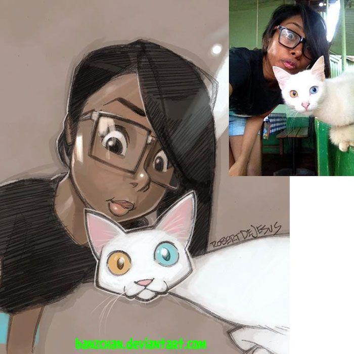Este ilustrador transforma a la gente y sus mascotas en personajes de dibujos animados