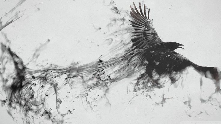Inky raven tattoo idea