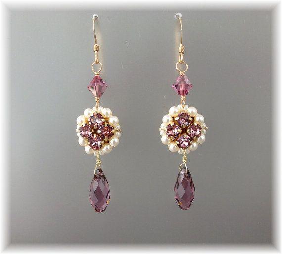 Dusty Rose Lampadario a goccia, malva strass orecchini, perle e orecchini di cristallo, gioielli damigella d