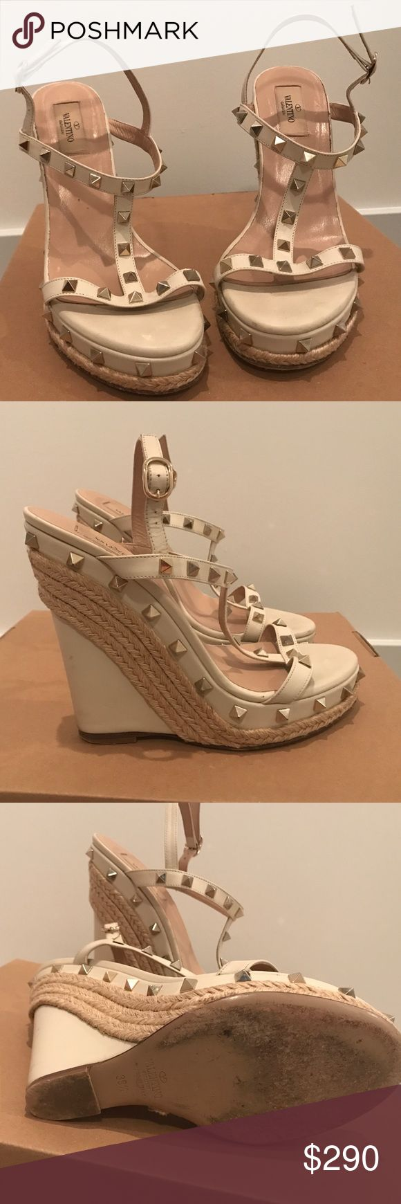 Valentino Wedges Valentino 'Rockstud' wedges worn 5-6 times. Size 39.5 Valentino Shoes Wedges