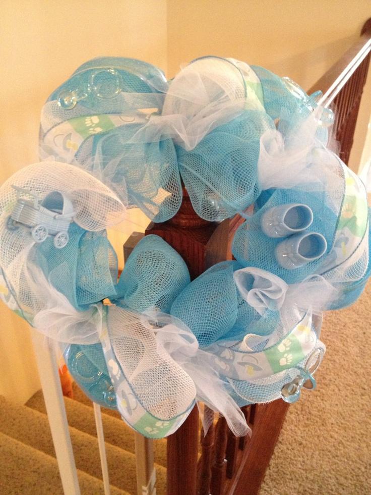 Baby Boy Deco Mesh Wreath by DecoMeshFrenzy on Etsy, $30.00