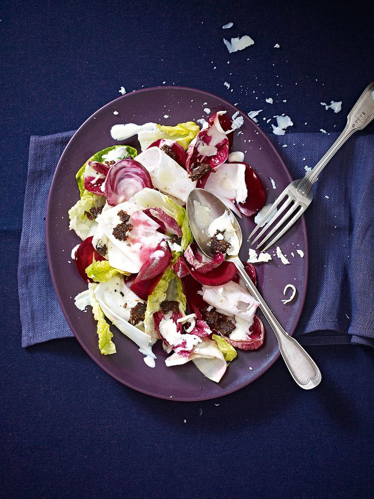 Try this winter salad recipe made with celeriac, beetroot, radicchio, little gem lettuce and pumpernickel bread.