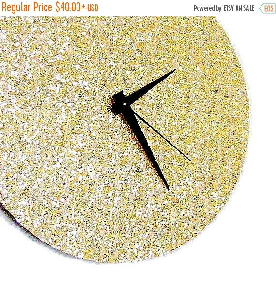 Sale Glitter Clock Trending Gold Glitter Home Decor by Shannybeebo