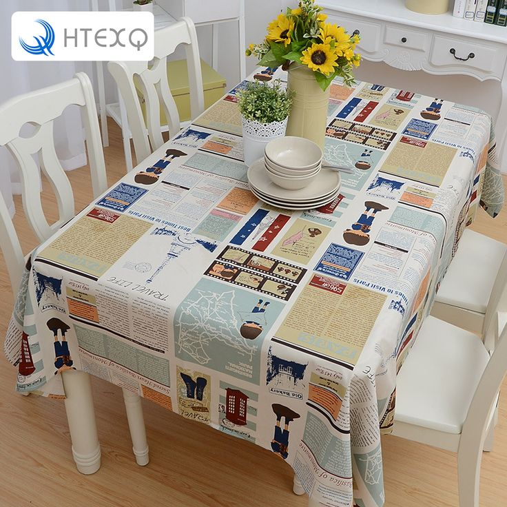 Printed newspaper cartoon Tablecloth Rectangle Europe  America Style Dot Design  Coffee Table Set #Affiliate