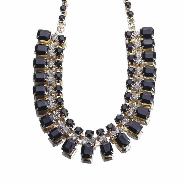 Bib Necklace Black Fashion Rhinestone Square Beads Bib Statement Choker Necklace Discount Online Shopping