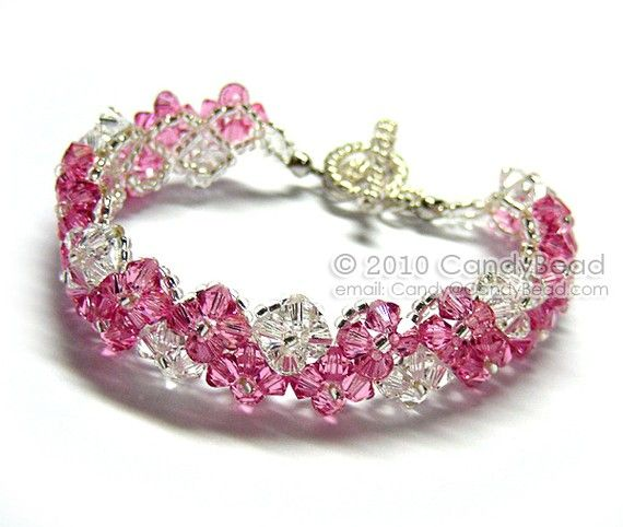 Pinkish Zig Zag Swarovski Crystal Bracelet with Silver Toggle Clasp by CandyBead