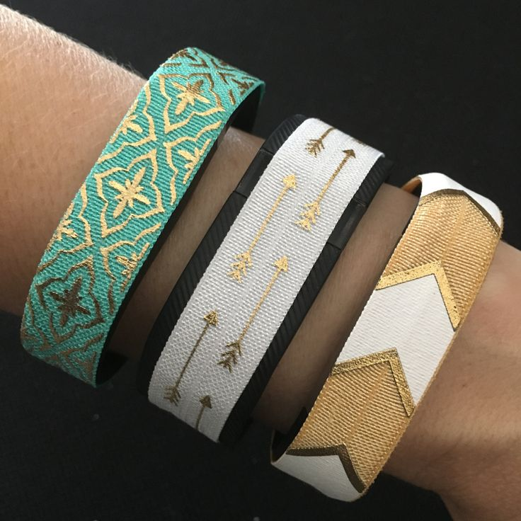 Decorative Fitbit Bands. Fitbit Alta, Flex, Flex 2, Charge & ChargeHR Elastic Bands, Set/3: Teal/Gold Indian Floral (PR18), White Arrow (AR13), Gold/White BC (BC31) by BananaWindDesign on Etsy
