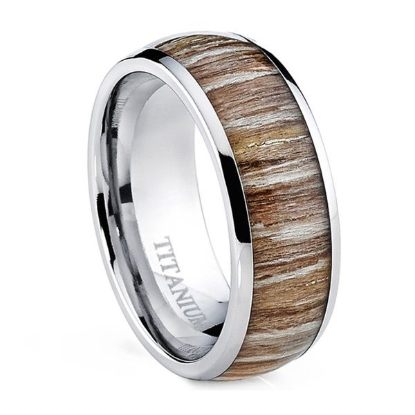 Perfect Oliveti Men us Dome Real Light Zebra Rosewood Inlay Comfort Fit Titanium Ring Overstock Shopping