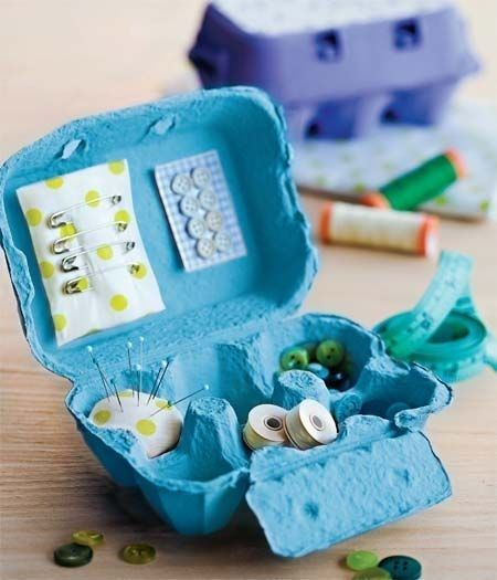 Egg Carton Sewing Kit | 50 Clever DIY Ways To Organize Your Entire Life