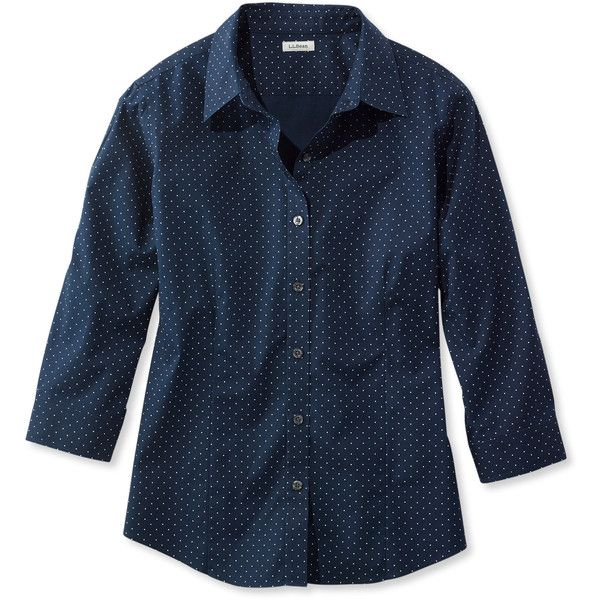 L.L.Bean Wrinkle-Free Pinpoint Oxford Shirt, Three-Quarter Sleeve Dot... (655.095 IDR) ❤ liked on Polyvore featuring tops, 3/4 sleeve tops, plus size polka dot shirt, polka dot tops, blue shirt and petite tops
