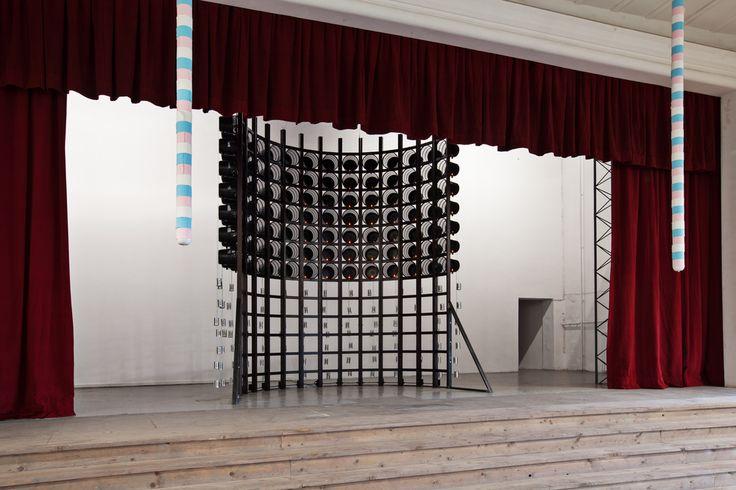 Nari Ward, Wishing Arena, 2013 plastic baskets, wood, candles, cans. Galleria Continua, San Gimignano, 2013. Photo by: Ela Bialkowska.