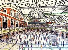 Drawing capturing the busy Liverpool Street Train Station in #London City. Art by Kirstin McCoy www.kirstinmccoy.com