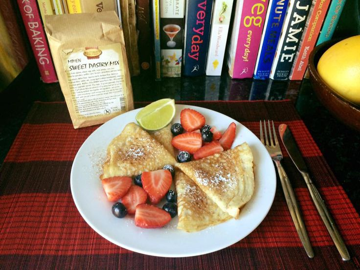 Wheat, Gluten, Egg & Dairy free MIMEN Pancakes with cinnamon, lime and maple syrup