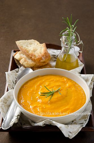Crema di Zucca e Robiola con Olio al Rosmarino-Pumpkin and Robiola Cream Soup with Rosemary Olive Oil