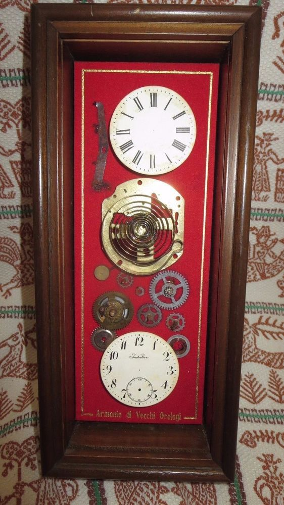 SHADOWBOX STEAMPUNK Watch Parts Mounted Armorie di Vecchi Orologi Wooden Frame