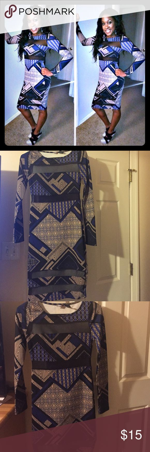 Long sleeved party dress Tan, blue and black Aztec type dress with mesh areas at the neck, under chest and across the bottom. Very comfortable and stretchy material. Fire Los Angeles Dresses Long Sleeve