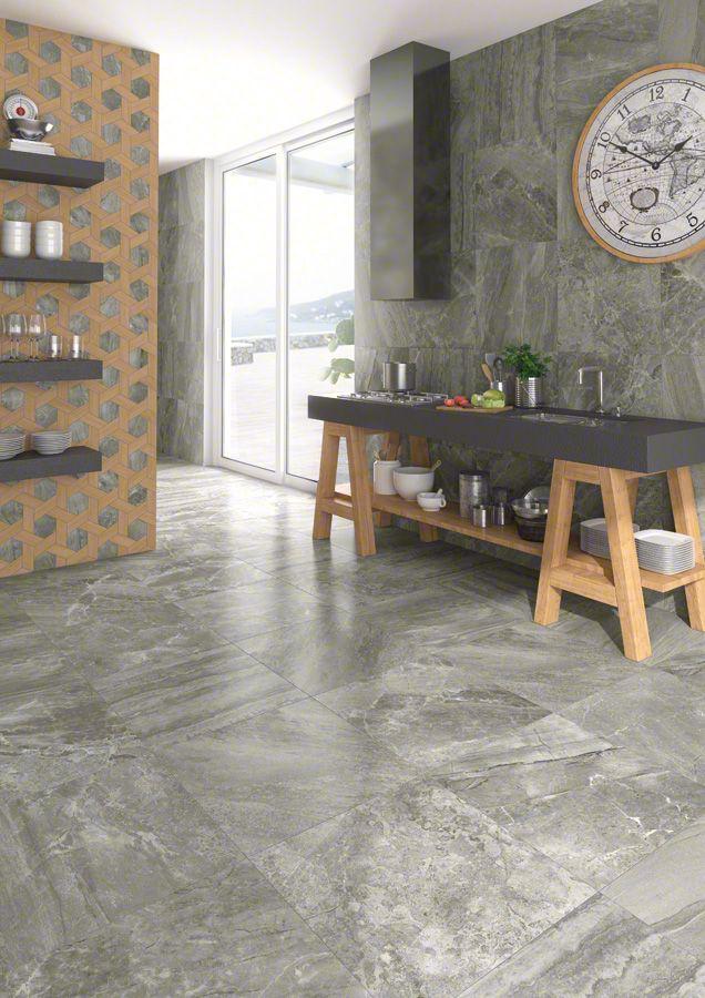 Serie de pavimento World Flysch en formato 30X60 cm., fabricada de porcelánico con acabado de piedra.