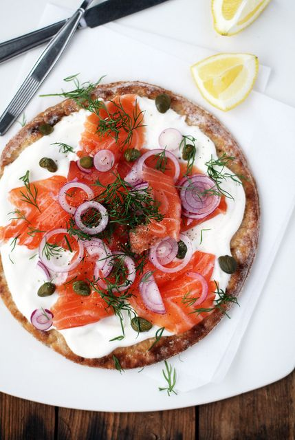 Cold smoked salmon pizza. No oven needed!