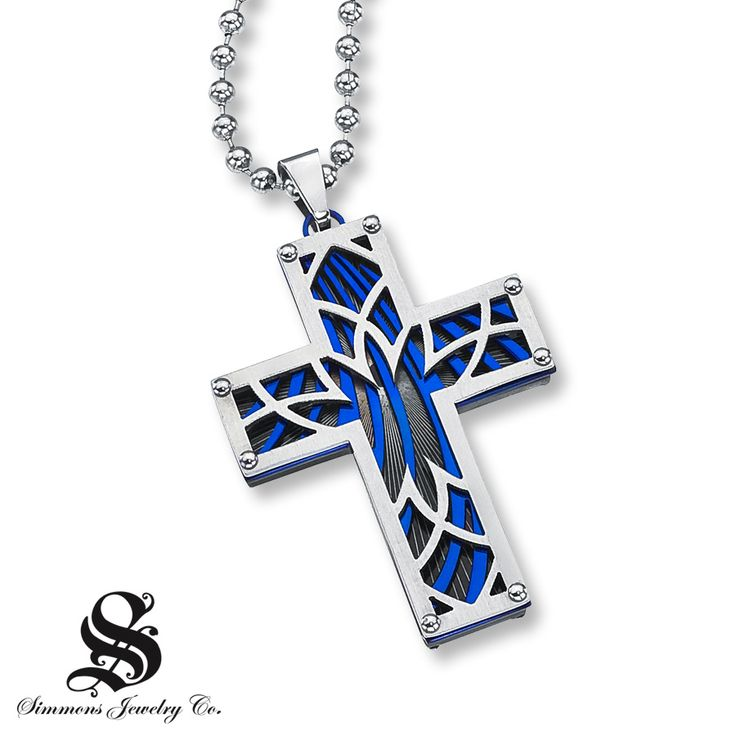Blue and gunmetal, ion-plated stainless steel layers create striking contrast in this cross necklace for him. Featuring a round diamond accent, the Simmons Jewelry Co. men's necklace showcases a 30-inch ball chain secured with a capsule clasp.