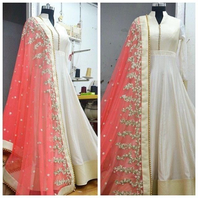 Bemberg+Zari+Work+Cream+Semi+Stitched+Long+Anarkali+Suit+-+2PLO at Rs 1449