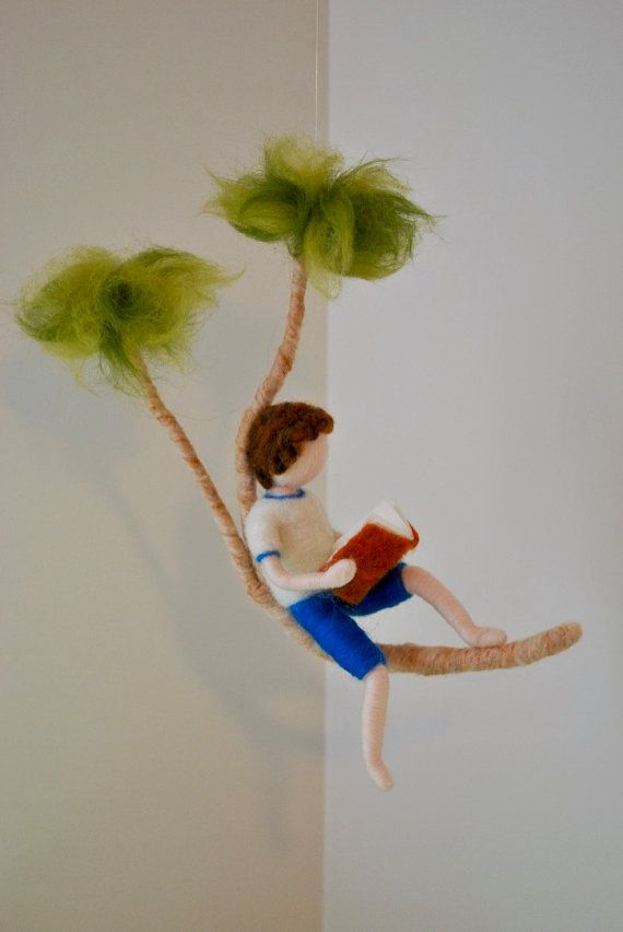 Boys Room Decor needle felted ornament: Boy reading by MagicWool